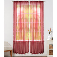 Linda Sheer Voile Curtain Panels - Various Colors - 4-Pack-Burgundy-Daily Steals