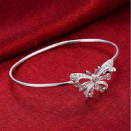 Butterfly Cuff Bangle in 18K White Gold Plated-Daily Steals