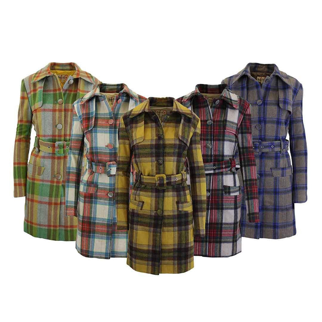 Women's Plaid Wool Trench Coat-Daily Steals