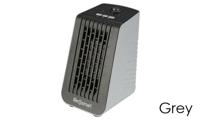 Life Smart Desktop Personal Heater & Fan - 4 Color Choices-Grey-Daily Steals