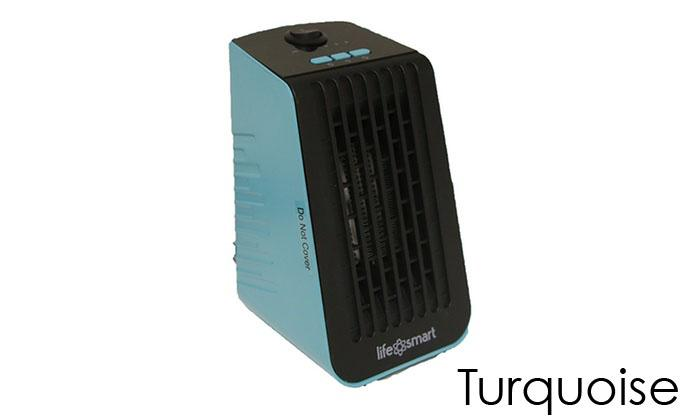 Life Smart Desktop Personal Heater & Fan - 4 Color Choices-Turquoise-Daily Steals