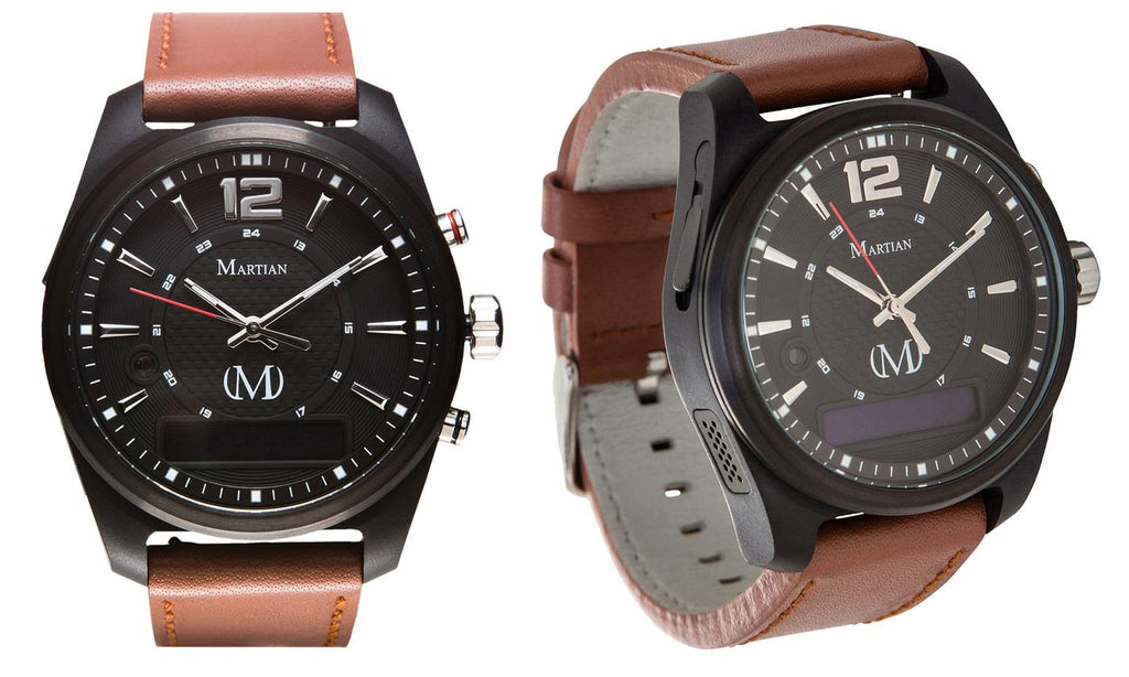 Montres connectées martiennes mVoice avec Amazon Alexa - Analog + Voice - Black Face / Brown Band - Daily Steals