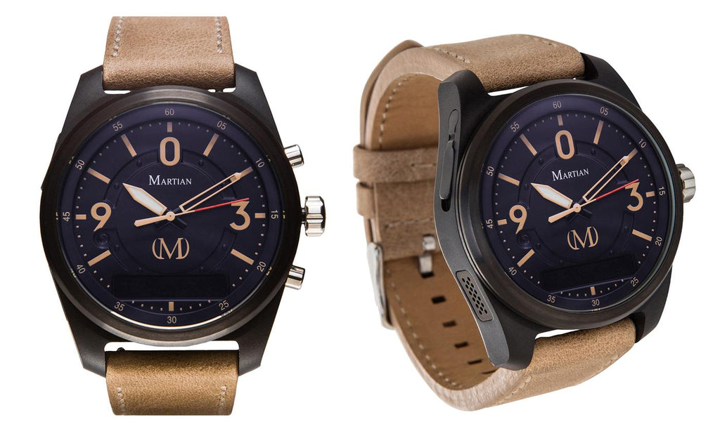 Martian mVoice Smartwatches with Amazon Alexa – Analog + Voice-Indego Blue Face / Tan Band-Daily Steals