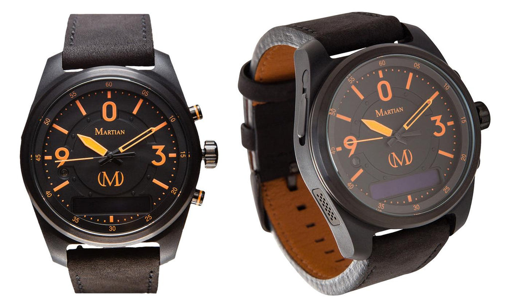 Montres connectées martiennes mVoice avec Amazon Alexa - Analog + Voice - Black w / Orange Face / Black Band - Daily Steals
