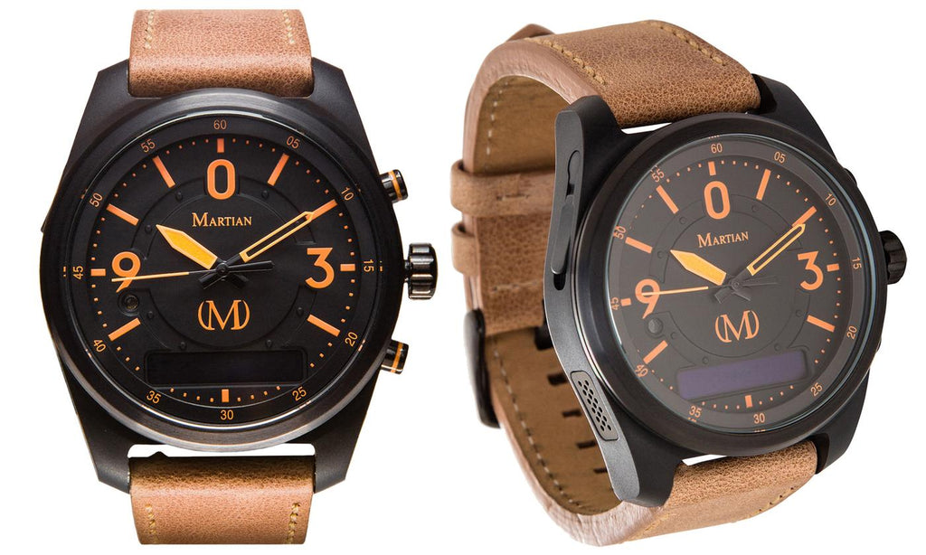 Montres connectées martiennes mVoice avec Amazon Alexa - Analog + Voice - Black w / Orange Face / Brown Band - Daily Steals