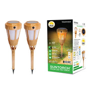 Solar-Powered Bamboo Tiki Torch with Multiple Light Settings (2, 4, or 6 Pack)-Daily Steals