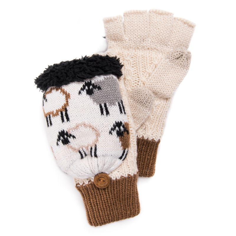 Women's Fingerless Flip Mittens by Muk Luks-Ghost-Daily Steals