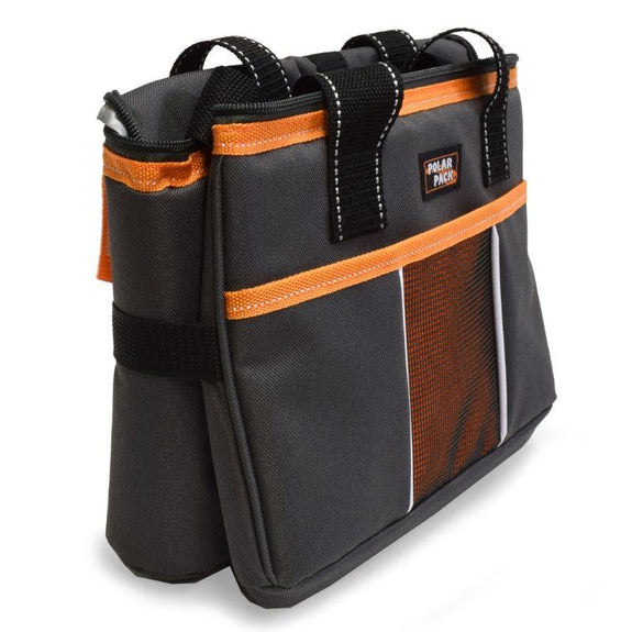 Polar Pack 18 Can Insulated Double Handle Collapsible Cooler-Charcoal and Orange-Daily Steals