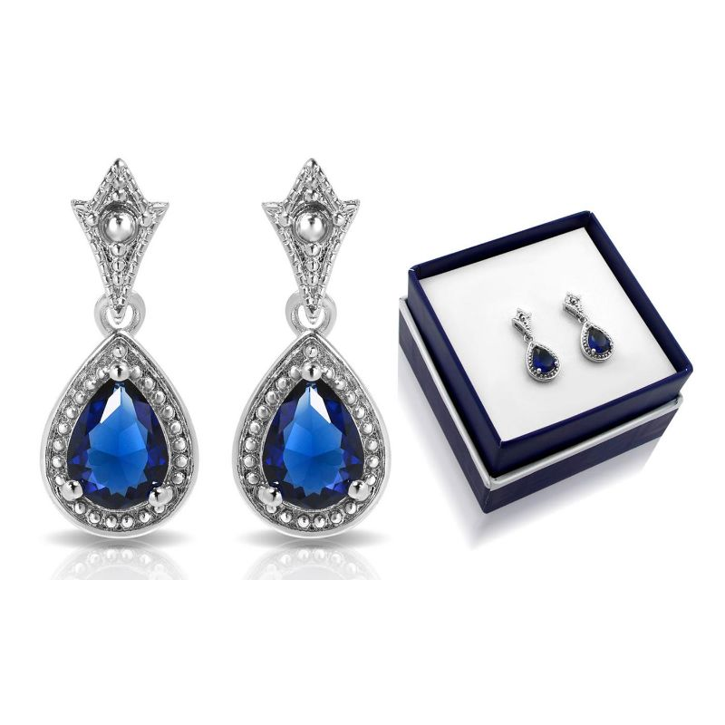 Created Sapphire Earrings with Gift Box-Daily Steals