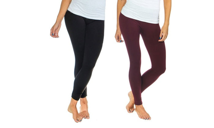 Women's Solid Fleece-Lined Leggings (2-Pack)-Black/ Wine-S/M-Daily Steals