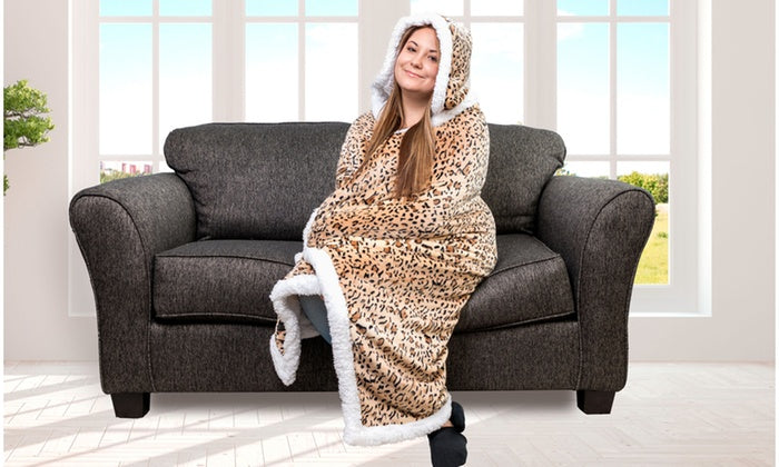 Kensie Sherpa Hoodie Throw - 50â€-Cheetah-Daily Steals