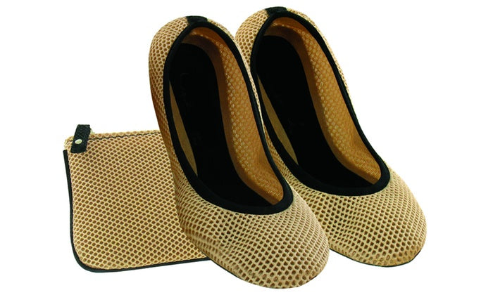 Women's Mesh Flat Foldable Shoes with Practical Foldable Design and Pouch - Cream-S-Daily Steals
