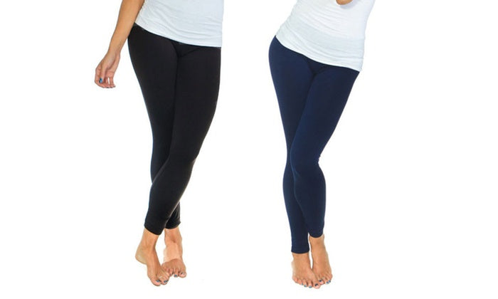 Women's Solid Fleece-Lined Leggings (2-Pack)-Black/ Navy-S/M-Daily Steals