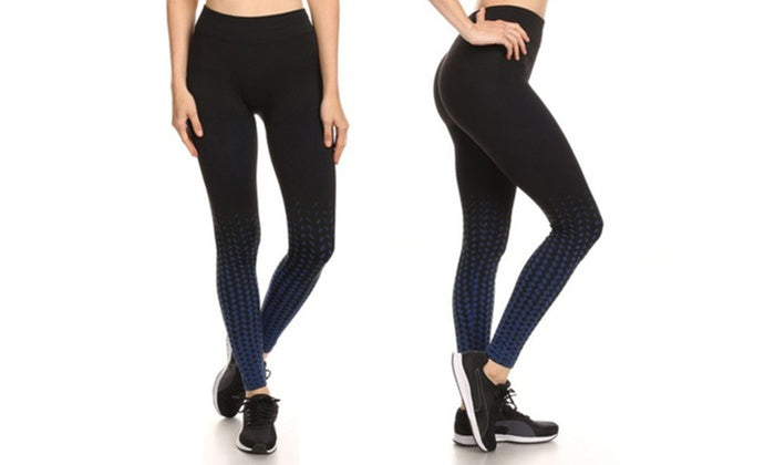 Kvinnors aktiva fleece fodrade prestanda Leggings-svart / blå-S / M-Daily Steals