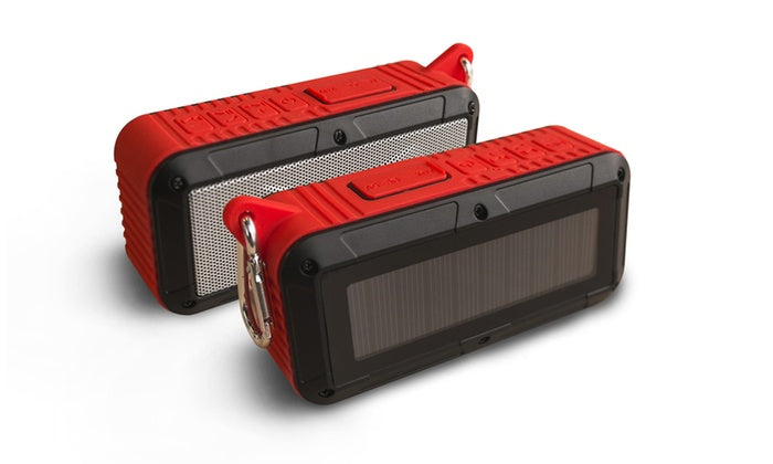 Party Solar Portable, haut-parleur Bluetooth - Options blanches, rouges et bleues-Red-Daily Steals