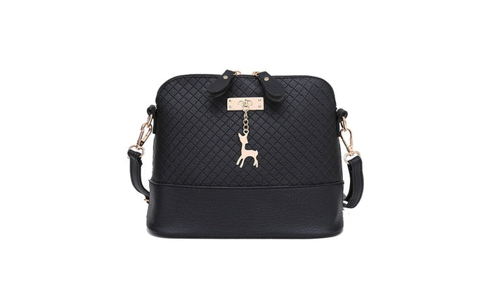 Women's Fashion Messenger Bag with Textured Finish-Black-Daily Steals