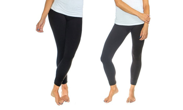 Women's Solid Fleece-Lined Leggings (2-Pack)-Black/Grey-S/M-Daily Steals