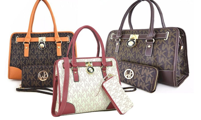 [2-Piece] WK Collection Handbag and Purse Set - Assorted Colors-Daily Steals