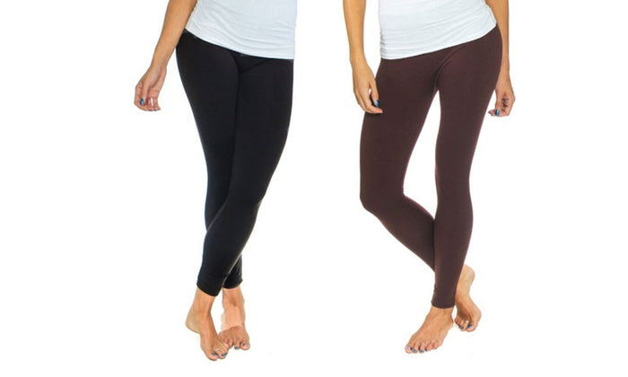 Women's Solid Fleece-Lined Leggings (2-Pack)-Black/ Brown-S/M-Daily Steals
