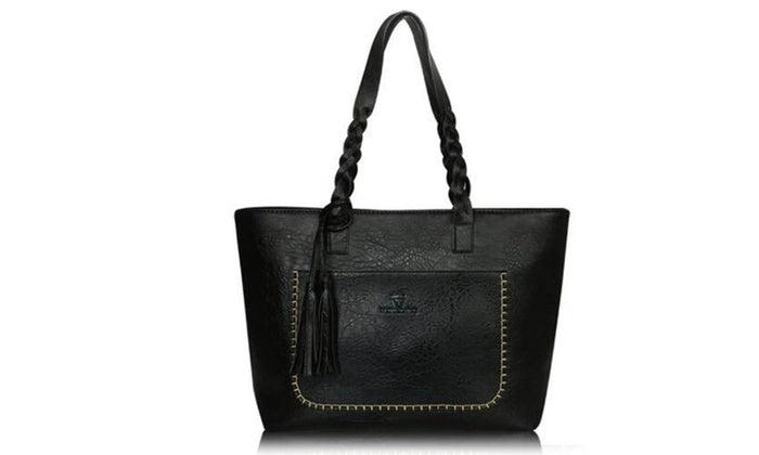 Vintage-Style Tote Handbag with Braided Handle and Stitched Detail-Black-Daily Steals