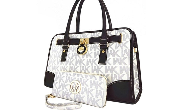 [2-Piece] WK Collection Handbag and Purse Set - Assorted Colors-White/Black-Daily Steals