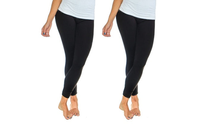 Women's Solid Fleece-Lined Leggings (2-Pack)-Black-S/M-Daily Steals