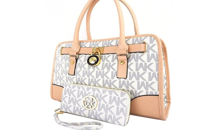 [2-Piece] WK Collection Handbag and Purse Set - Assorted Colors-White/Beige-Daily Steals