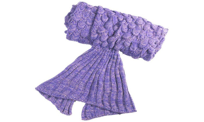 Mermaid Tail Knit Crochet Warm & Soft Blanket for Kids and Adults-Adults-Purple/White/Light Pink-Daily Steals