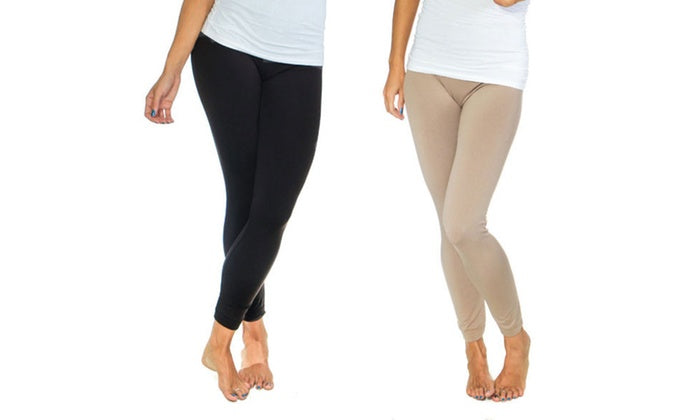 Women's Solid Fleece-Lined Leggings (2-Pack)-Black/Olive-S/M-Daily Steals