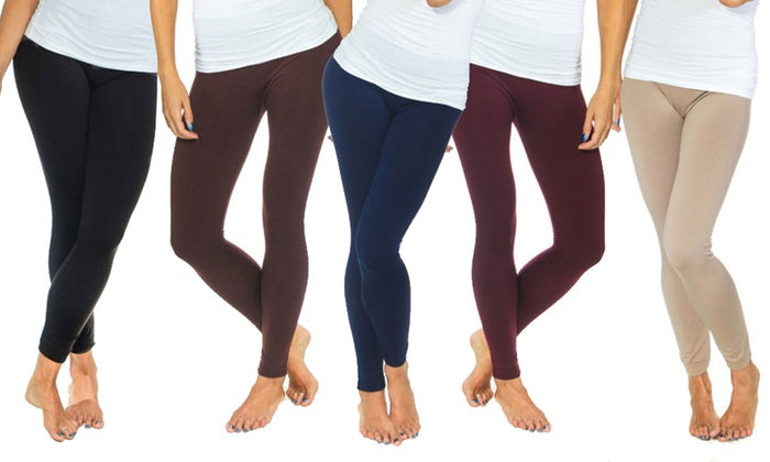 Women's Solid Fleece-Lined Leggings (2-Pack)-Daily Steals