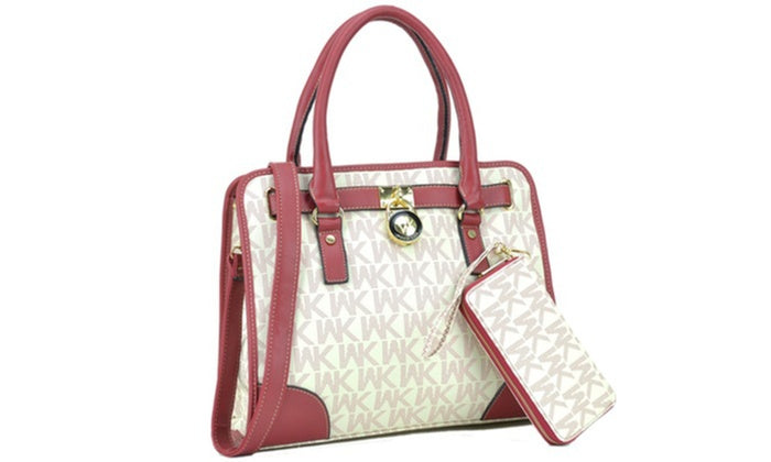 [2-Piece] WK Collection Handbag and Purse Set - Assorted Colors-White/Red-Daily Steals