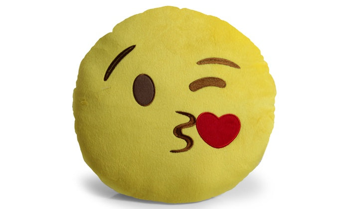 "Large 13"" Soft Plush Emoji Throw Pillows-Kissing Heart-Daily Steals"