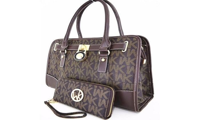 [2-Piece] WK Collection Handbag and Purse Set - Assorted Colors-Coffee-Daily Steals