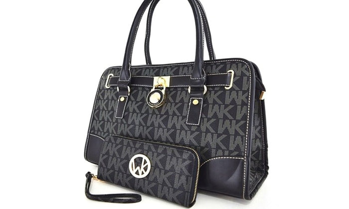 [2-Piece] WK Collection Handbag and Purse Set - Assorted Colors-Black-Daily Steals