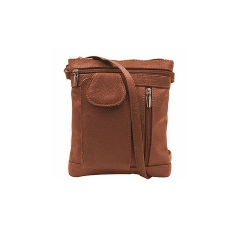 """On-the-Go"" Sac à bandoulière en cuir souple - Brun foncé - Daily Steals"