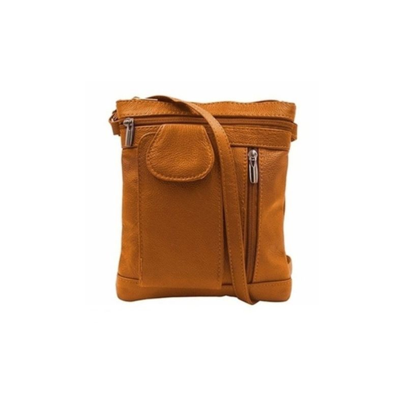 """On-the-Go"" Soft Leather Crossbody Bag-Light Brown-Daily Steals"