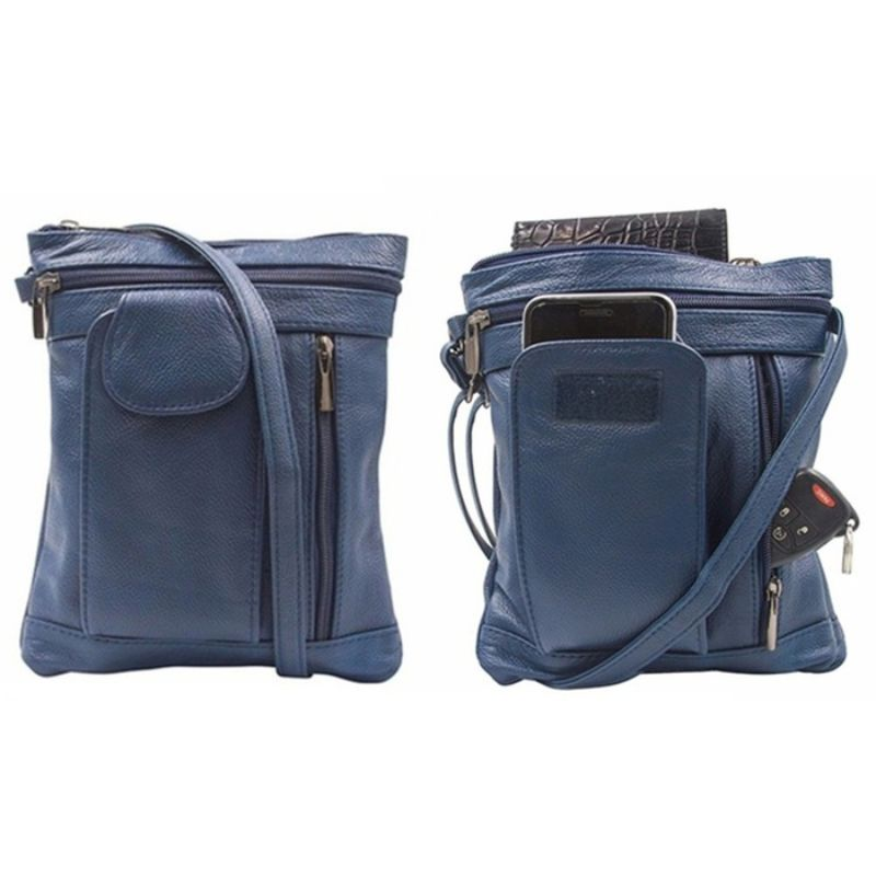 """On-the-Go"" Sac à bandoulière en cuir souple - Navy-Daily Steals"
