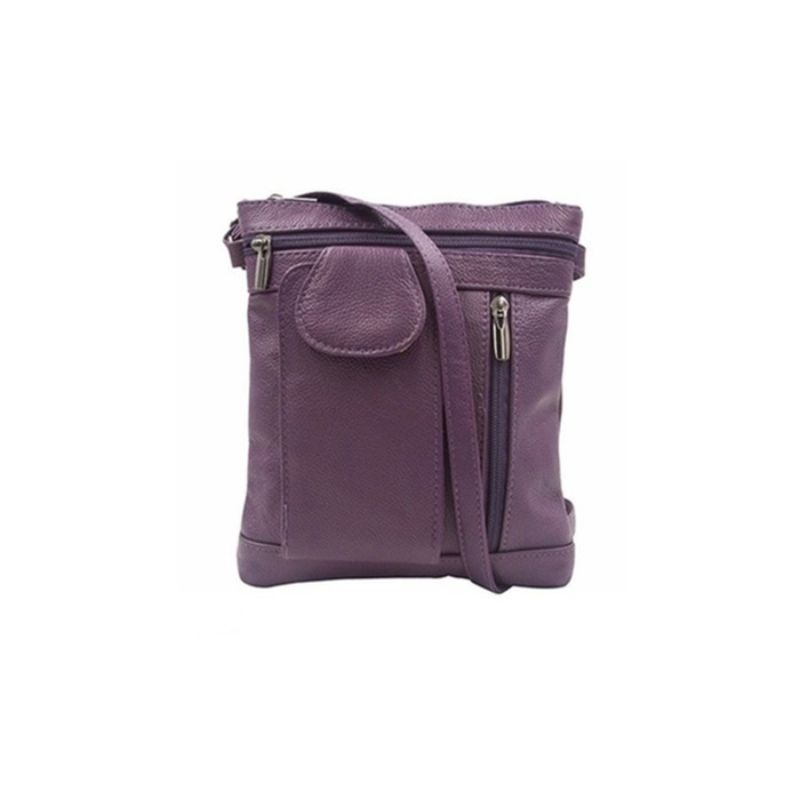 """On-the-Go"" Sac à bandoulière en cuir souple - Violet - Daily Steals"