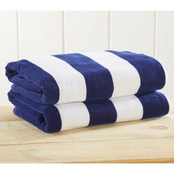 "Cabana Stripe Velour Beach Towels 30"" x 60"" - Large Pool Towels - 2 Pack-Blue-Daily Steals"
