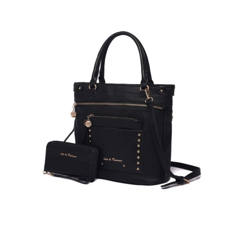 Cabell Tote Handbag with Matching Wristlet Pouch and Wallet By MKF-Black-Daily Steals