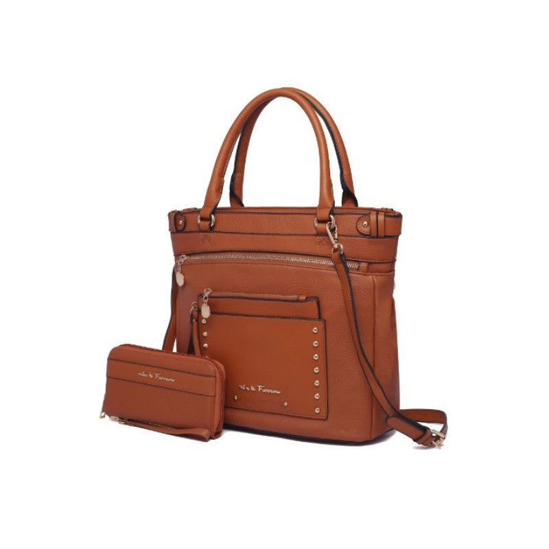 Cabell Tote Handbag with Matching Wristlet Pouch and Wallet By MKF-Cognac Brown-Daily Steals