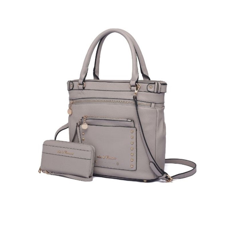Cabell Tote Handbag with Matching Wristlet Pouch and Wallet By MKF-Grey-Daily Steals
