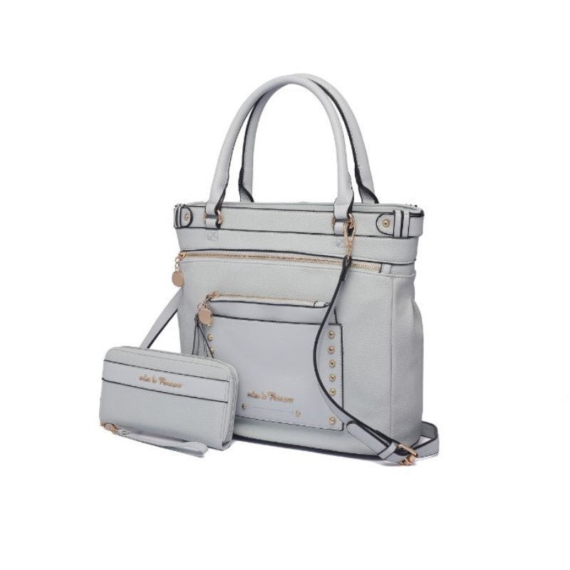 Cabell Tote Handbag with Matching Wristlet Pouch and Wallet By MKF-Light Blue-Daily Steals
