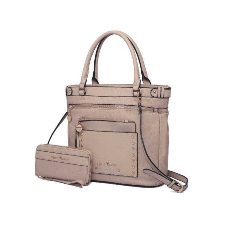 Cabell Tote Handbag with Matching Wristlet Pouch and Wallet By MKF-Taupe-Daily Steals