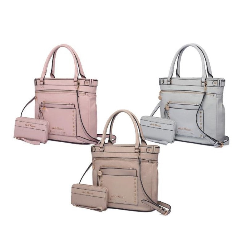 Cabell Tote Handbag with Matching Wristlet Pouch and Wallet By MKF-Daily Steals