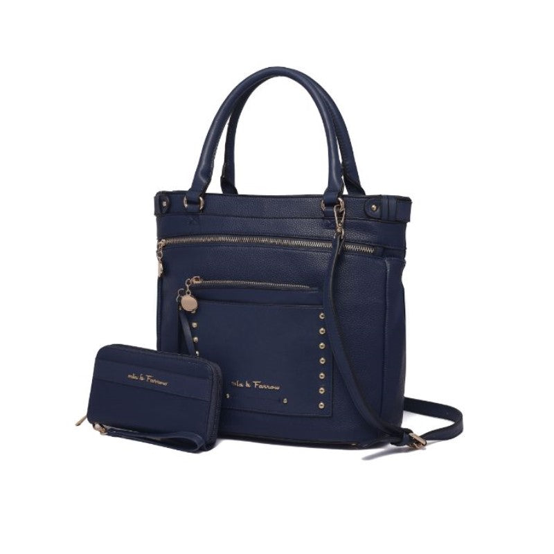 Cabell Tote Handbag with Matching Wristlet Pouch and Wallet By MKF-Navy-Daily Steals