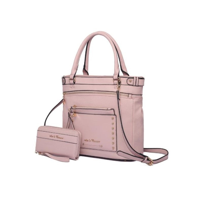 Cabell Tote Handbag with Matching Wristlet Pouch and Wallet By MKF-Pink-Daily Steals