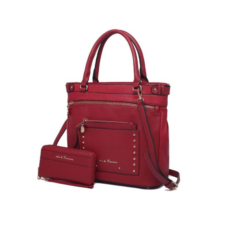 Cabell Tote Handbag with Matching Wristlet Pouch and Wallet By MKF-Red-Daily Steals