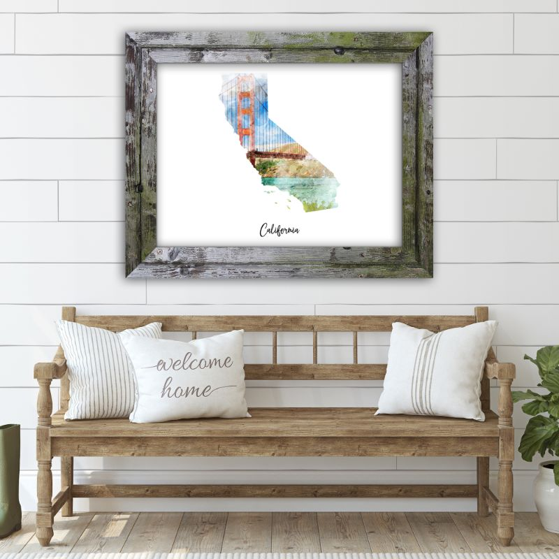 "California Bridge Watercolor Map Print - Unframed Art Print-7""x5""-Horizontal/Landscape-Daily Steals"
