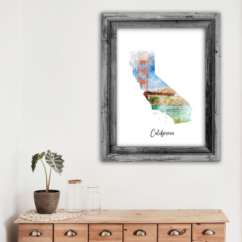 "California Bridge Watercolor Map Print - Unframed Art Print-13""x19""-Vertical/Portrait-Daily Steals"